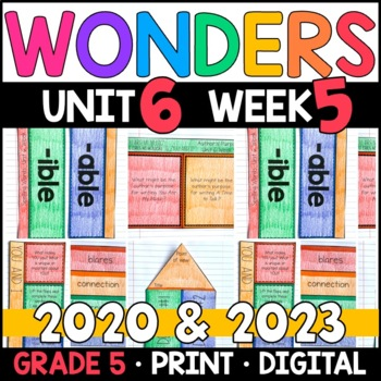 Wonders 2020 5th Grade, Unit 6 Week 5: You Are My Music Supplements