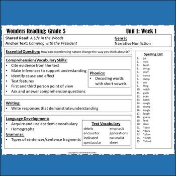 Wonders 2020 Fifth Grade Study Guide/Vocabulary Bundle