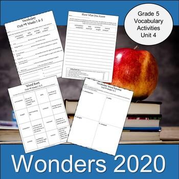 Wonders Fifth Grade Vocabulary Activities, Unit 4 (2020)