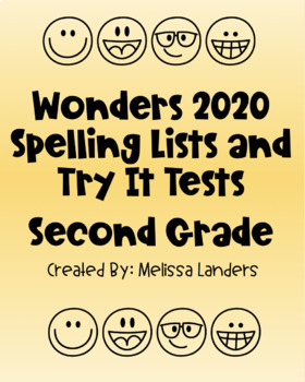 Wonders 2020 Spelling Lists and Try It Test Second Grade