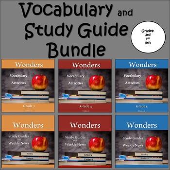 Wonders 2020 Third, Fourth, & Fifth Grade Study Guide/Vocabulary Bundle