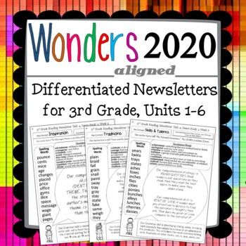 Wonders 2020 Third Grade Newsletters, Units 1-6 (NonEditable)