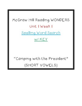 Wonders 2020 Unit 1 Week 1 Spelling Word Search Camping with the President 5
