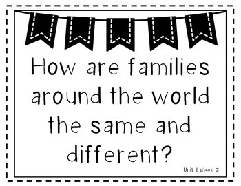 Wonders 2nd Grade Essential Questions Units 1-6 Black and White Version