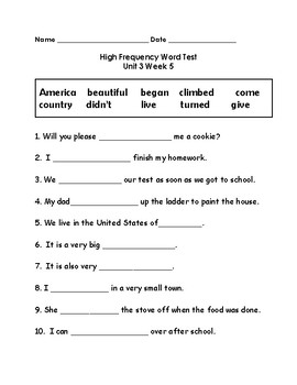 Wonders 2nd Grade High Frequency Word Tests Unit 3 Week 5