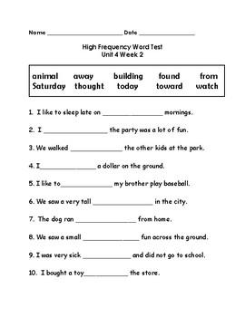 Wonders 2nd Grade High Frequency Word Tests Unit 4 Week 2