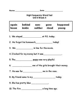 Wonders 2nd Grade High Frequency Word Tests Unit 4 Week 4