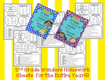 Wonders 2nd Grade Homework Sheets for the Entire Year