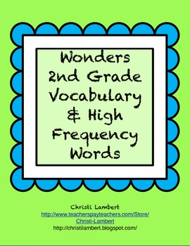 2nd Grade Wonders Reading Vocabulary Cards and High Frequency Cards Freebie