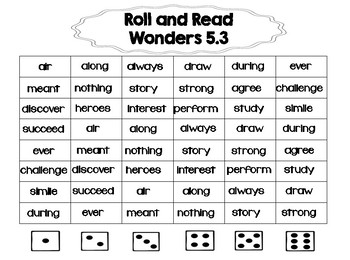 Wonders 2nd Grade Spelling, Vocabulary, Roll & Read Activities