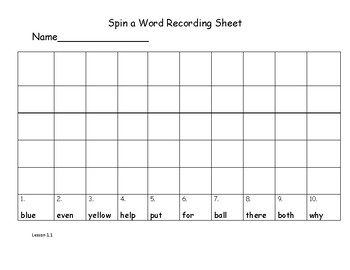 Wonders 2nd Grade Spin a Word Recording Sheets and Gameboard Units 1-6