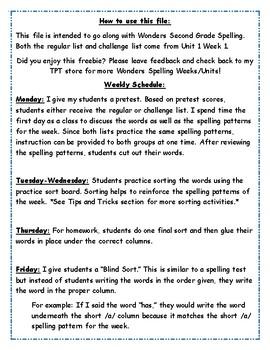 Wonders 2nd Grade Unit 1 Week 1 Spelling Word Sort FREEBIE