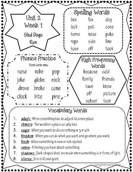 Wonders 2nd Grade Unit 2 Homework Sheets