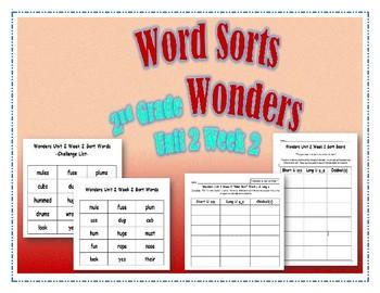 Wonders 2nd Grade Unit 2 Week 2 Spelling Word Sort