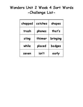 Wonders 2nd Grade Unit 2 Week 4 Spelling Word Sort