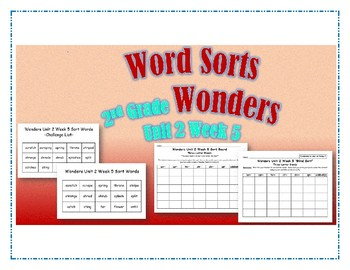 Wonders 2nd Grade Unit 2 Week 5 Spelling Word Sort