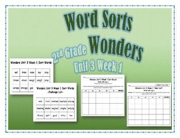 Wonders 2nd Grade Unit 3 Week 1 Spelling Word Sort