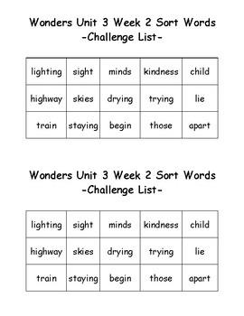 Wonders 2nd Grade Unit 3 Week 2 Spelling Word Sort