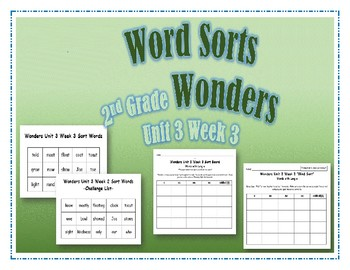 Wonders 2nd Grade Unit 3 Week 3 Spelling Word Sort