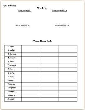 Wonders 2nd Grade Unit 3 Week 5 Homework or Seat Work
