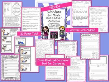 Wonders 2nd Grade Unit 4 Activities Week 1