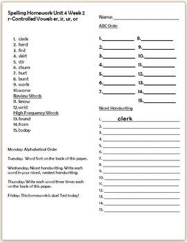 Wonders 2nd Grade Unit 4 Week 2 Homework or Seat Work