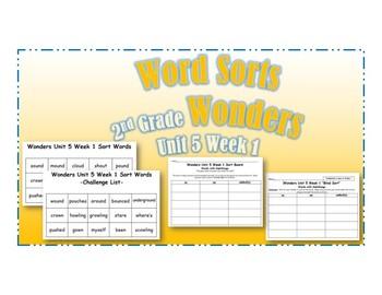 Wonders 2nd Grade Unit 5 Week 1 Spelling Word Sort