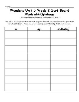 Wonders 2nd Grade Unit 5 Week 2 Spelling Word Sort