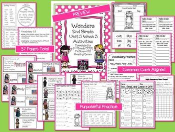 Wonders 2nd Grade Unit 5 Week 3 Activities