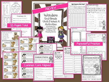 Wonders 2nd Grade Unit 5 Week 4 Activities
