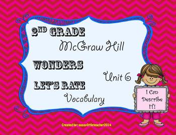 Wonders 2nd Grade Unit 6 Let's Rate It Vocabulary
