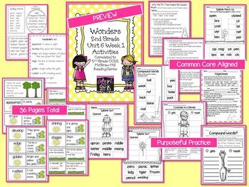 Wonders 2nd Grade Unit 6 Week 1 Activities