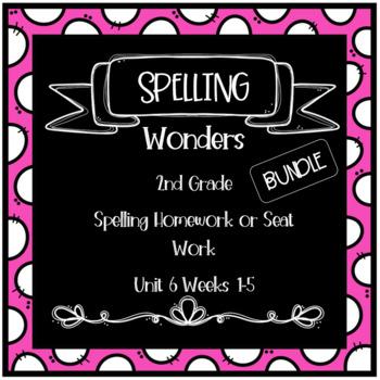 Wonders 2nd Grade Unit 6 Weeks 1-5 Homework or Seat Work  BUNDLE