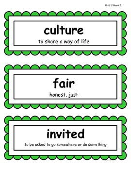 2nd Grade Wonders McGraw Hill Reading Vocabulary Word Cards - Unit 1