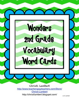 2nd Grade Wonders McGraw Hill Reading Vocabulary Word Card