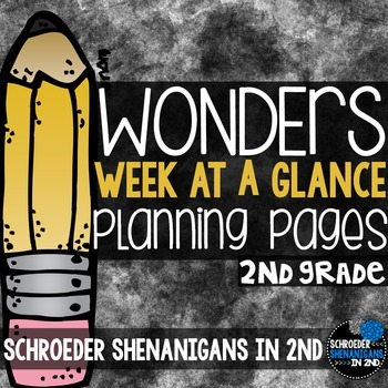 Wonders 2nd grade Weeks at a Glance Planning Pages