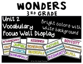 Wonders 3rd Grade Focus Wall Vocabulary Display - Unit 2