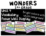 Wonders 3rd Grade Focus Wall Vocabulary Display - Unit 4