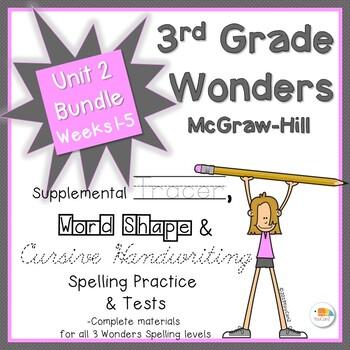 Wonders 3rd Grade Spelling Practice, Tests & More Unit 2, Weeks 1-5