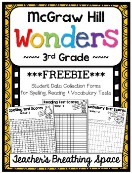 Wonders 3rd Grade --- Student Data Forms for Spelling / Reading Tests *FREEBIE*