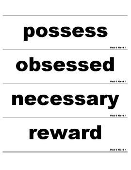 Wonders 3rd Grade Unit 6 Vocabulary Cards