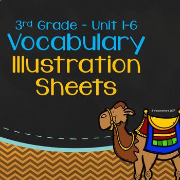 Wonders 3rd Grade Units 1-6 Bundled Vocabulary Illustration Sheets