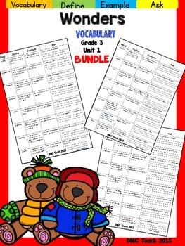 Wonders 3rd Grade Vocabulary Bundle Unit-1