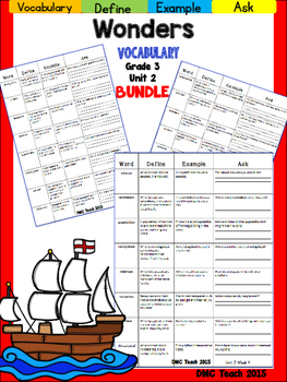 Wonders 3rd Grade Vocabulary Bundle Unit-2