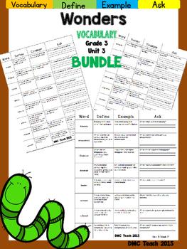 Wonders 3rd Grade Vocabulary Bundle Unit-3