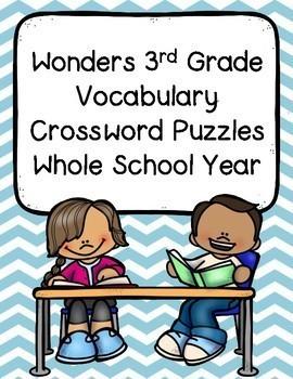 Wonders 3rd Grade Vocabulary Crossword Puzzles Whole School Year