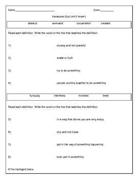 Wonders 3rd Grade Vocabulary Quizzes, Units 1 - 6, Week 1