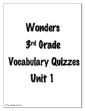 Wonders 3rd Grade Vocabulary Tests Unit 1