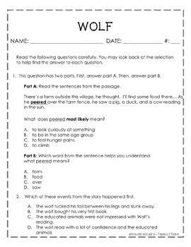 {for use with...Wonders} 3rd Grade Weekly Reading Assessment Unit 1 Week 1 WOLF