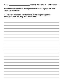 Wonders 3rd Grade Unit 1 Weekly Test Answer Sheets